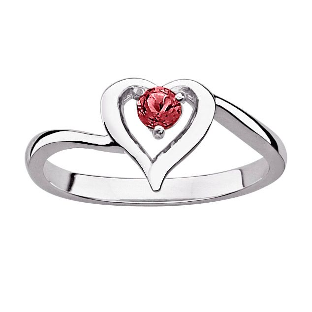 141-806 - Sterling Silver Genuine Birthstone Heart Cut-out Ring