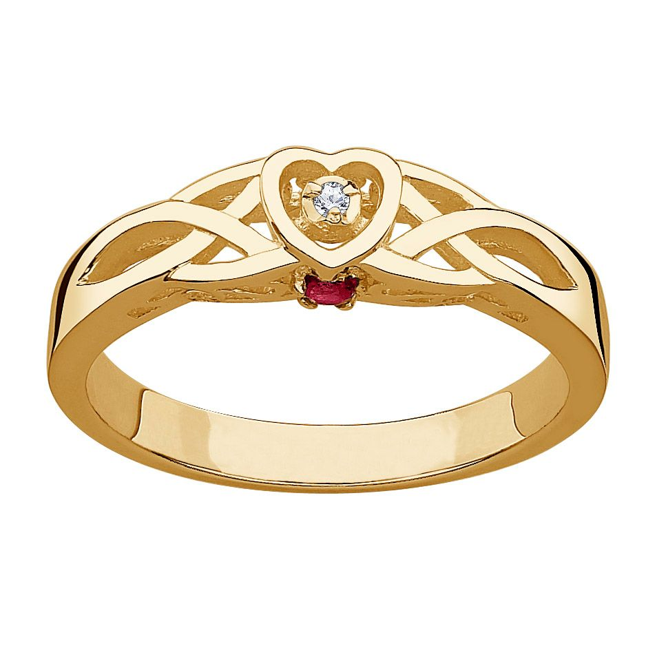 141-807 - 18K Gold Embraced™ Genuine Diamond & Birthstone Celtic Heart Promise Ring