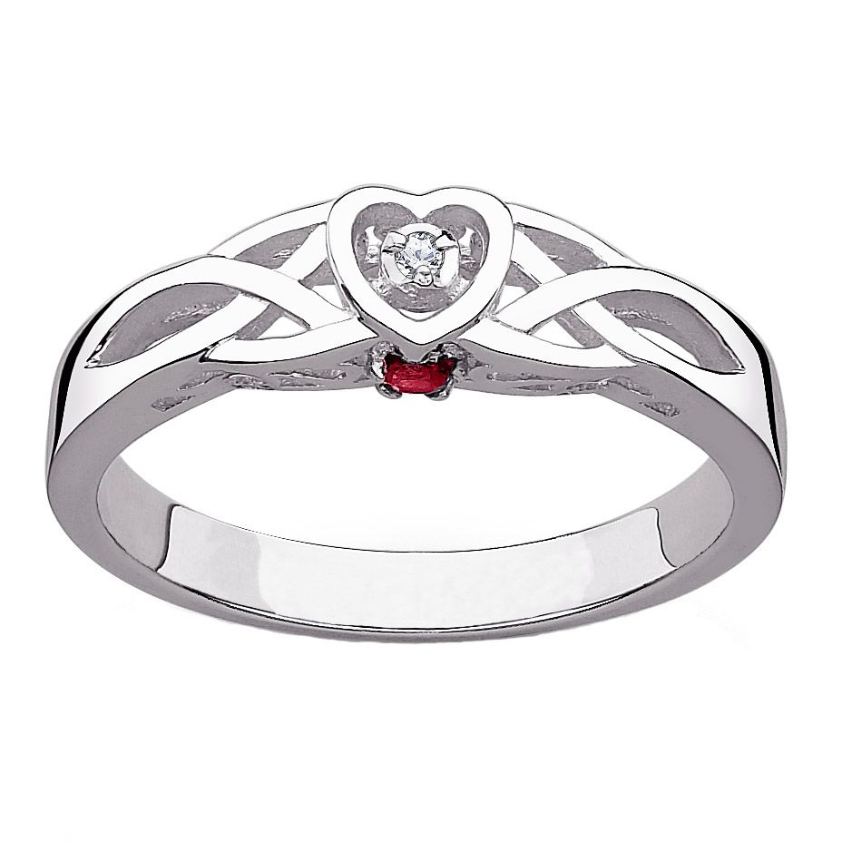 141-808 - Sterling Silver Genuine Diamond & Birthstone Celtic Heart Promise Ring