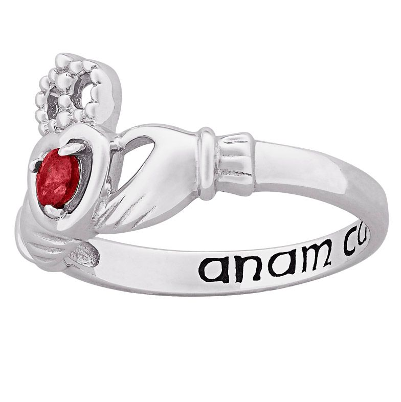 141-809 - Sterling Silver Genuine Birthstone Claddagh Ring