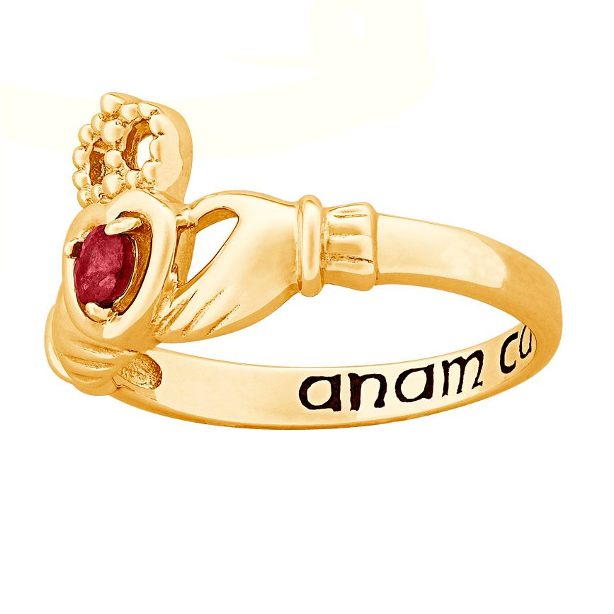 141-810 - 14K Gold Embraced™ Sterling Silver Genuine Birthstone Claddagh Ring