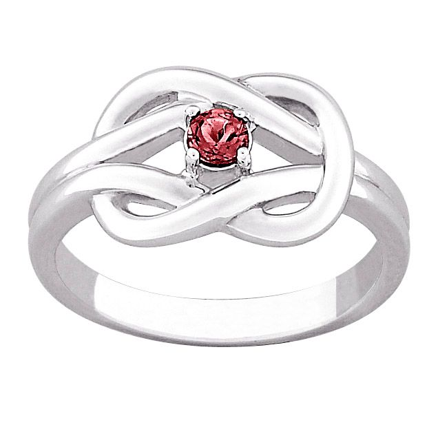 141-811 - Sterling Silver Genuine Birthstone Knot Ring