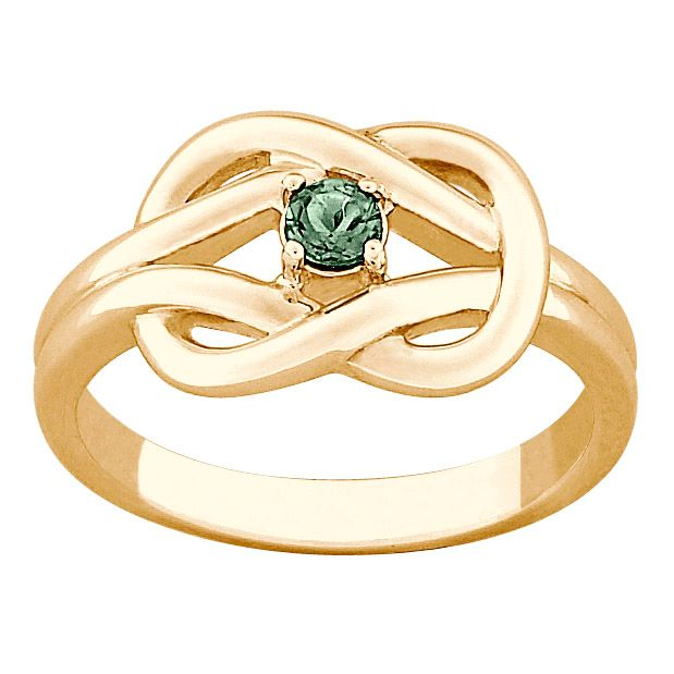 141-812 - 14K Gold Embraced™ Sterling Silver Genuine Birthstone Knot Ring