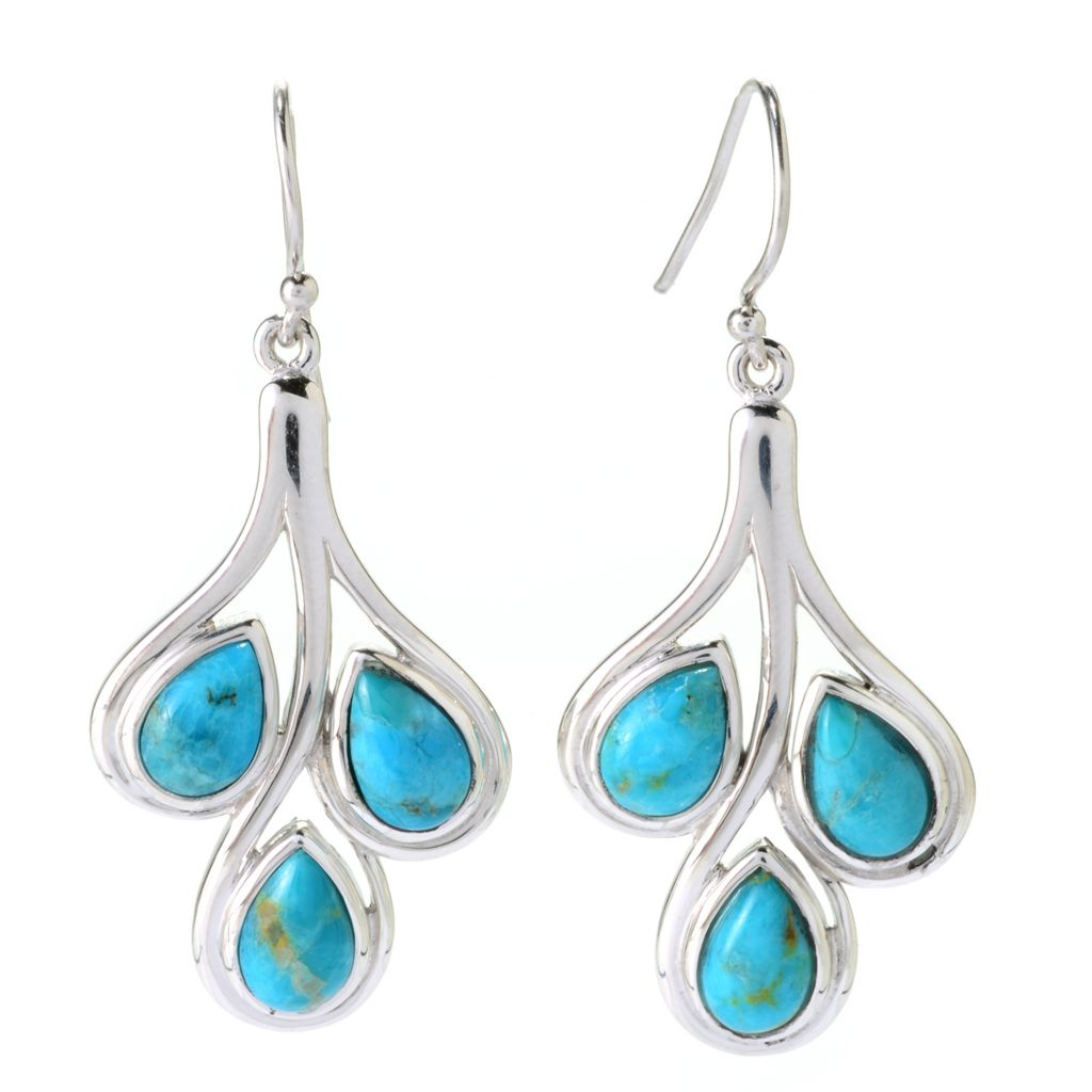 "141-813 - Gem Insider Sterling Silver 1.75"" Pear Shaped Kingman Turquoise Drop Earrings"