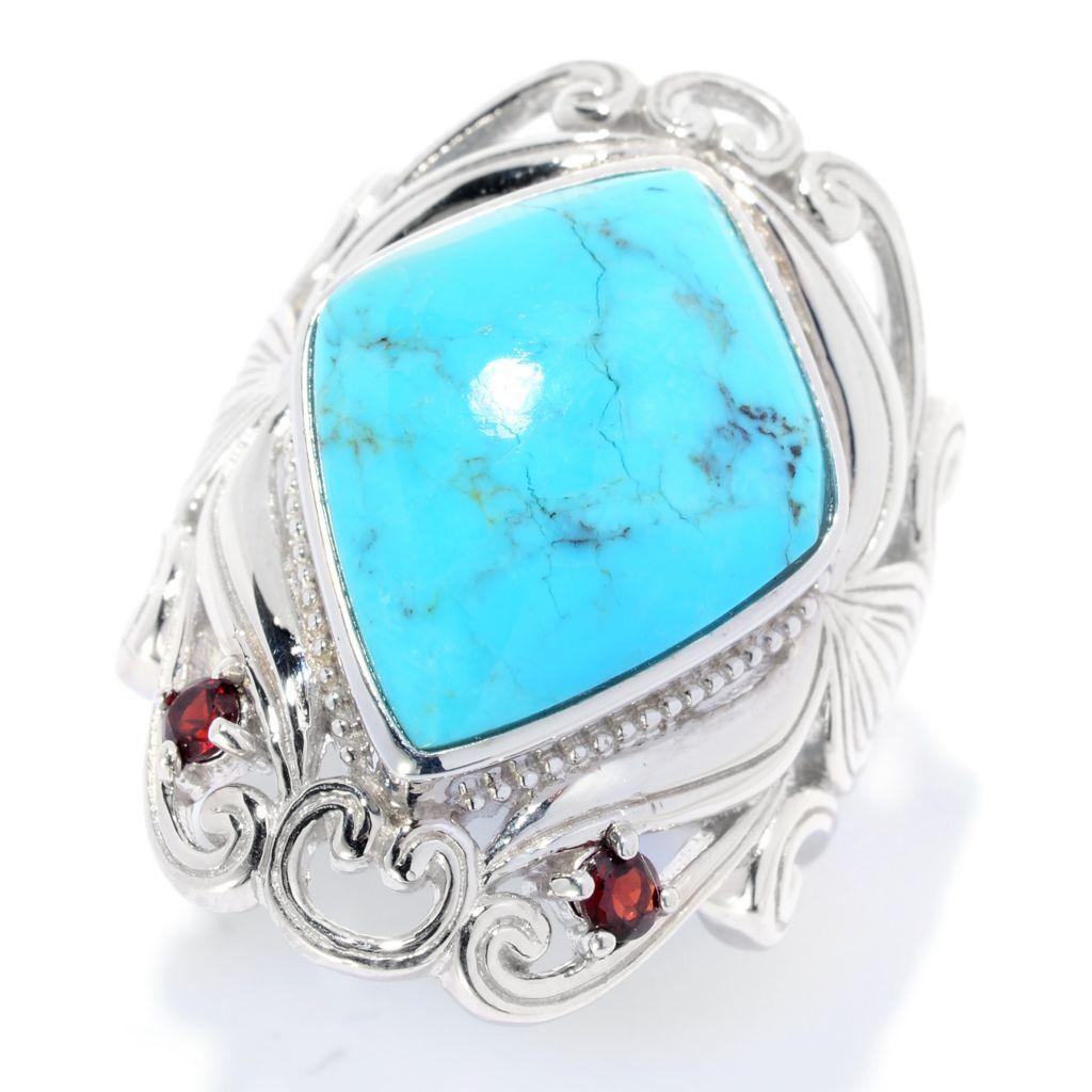 141-815 - Gem Insider Sterling Silver 18 x 14mm Kingman Turquoise & Garnet Scrollwork Ring