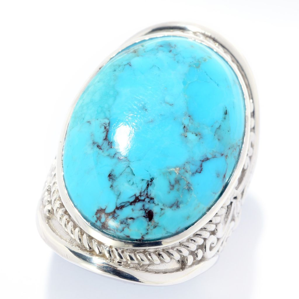 141-816 - Gem Insider Sterling Silver 25 x 18mm Oval Kingman Turquoise Scrollwork Ring