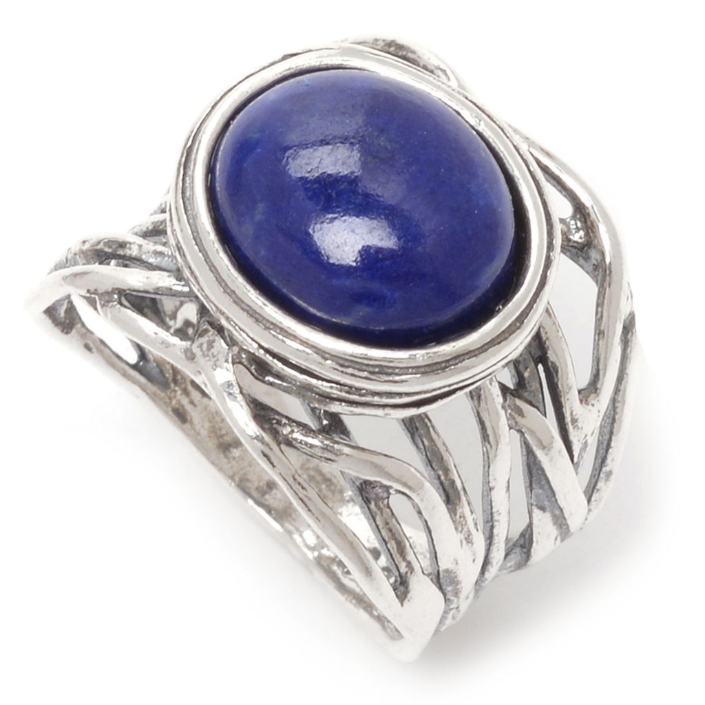 141-817 - Passage to Israel Sterling Silver 12 x 10mm Oval Gemstone Vine Band Ring