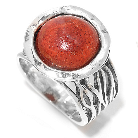 141-818 - Passage to Israel™ Sterling Silver 12mm Round Sponge Coral Textured Ring