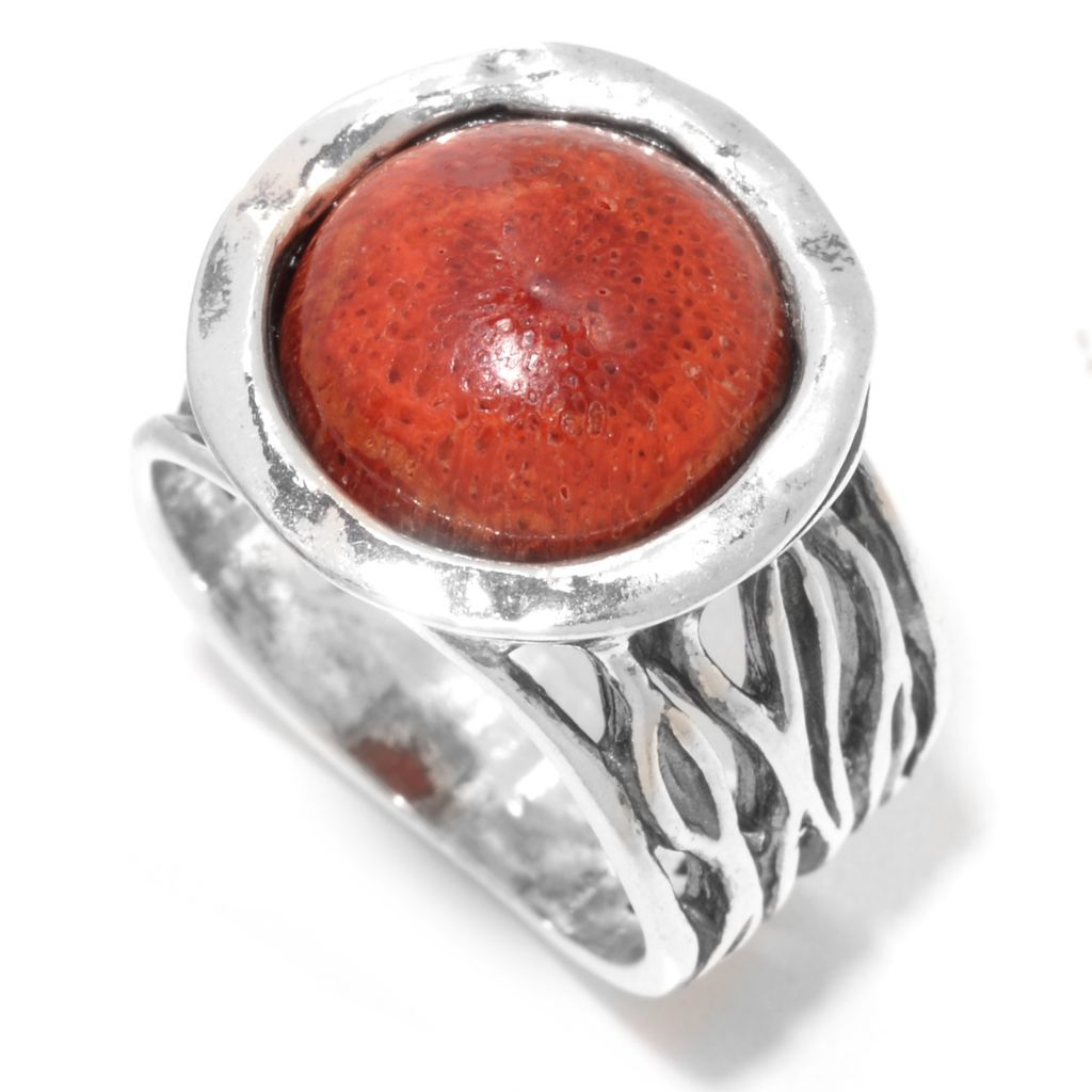 141-818 - Passage to Israel Sterling Silver 12mm Round Sponge Coral Textured Ring