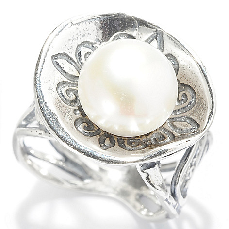 141-819 - Passage to Israel Sterling Silver 10mm Freshwater Cultured Pearl Cut-out Band Ring