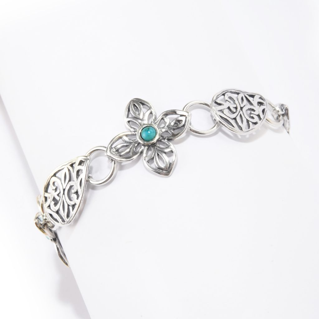 141-820 - Passage to Israel Sterling Silver 4mm Gemstone Cut-out Floral Link Toggle Bracelet