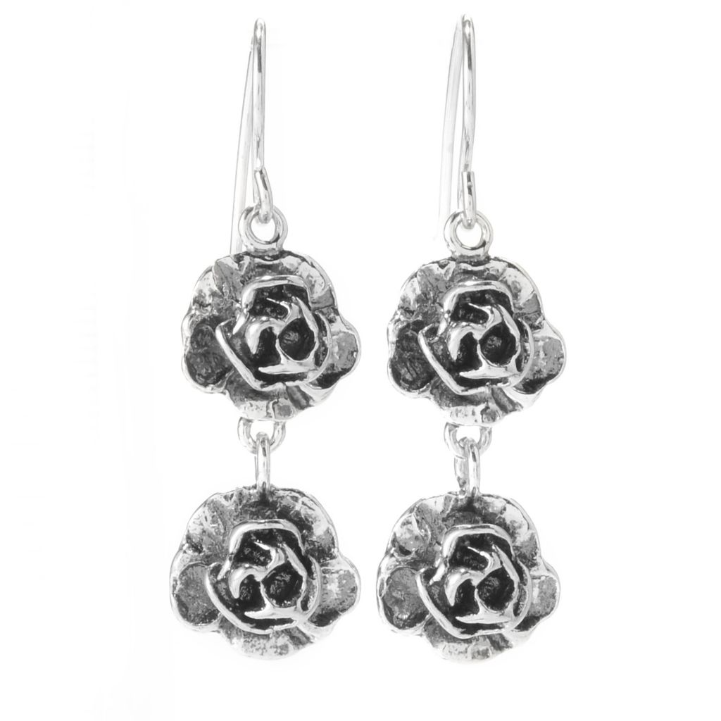 "141-821 - Passage to Israel Sterling Silver 1.5"" Oxidized Double Flower Dangle Earrings"