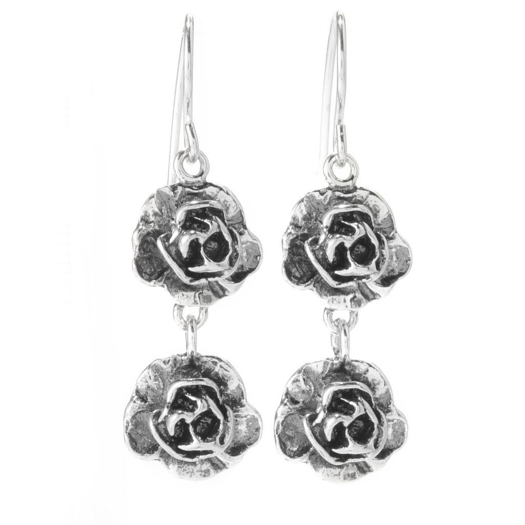 "141-821 - Passage to Israel Sterling Silver 1.5"" Oxidized Double Flower Dangle Earrings"