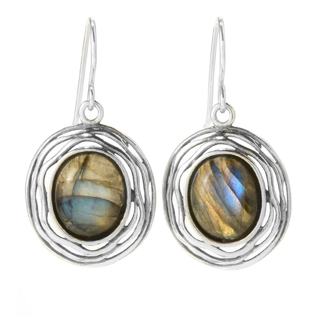 "141-822 - Passage to Israel Sterling Silver 1.25"" 12 x 10mm Oval Labradorite Drop Earrings"