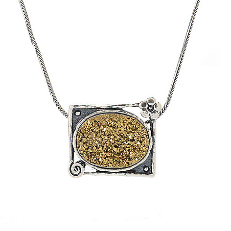 141-823 - Passage to Israel Sterling Silver 20 x 15mm Golden Drusy Square Pendant w/ Chain