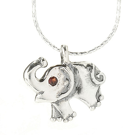 141-824 - Passage to Israel™ Sterling Silver Garnet Elephant Pendant w/ 18'' Fancy Chain