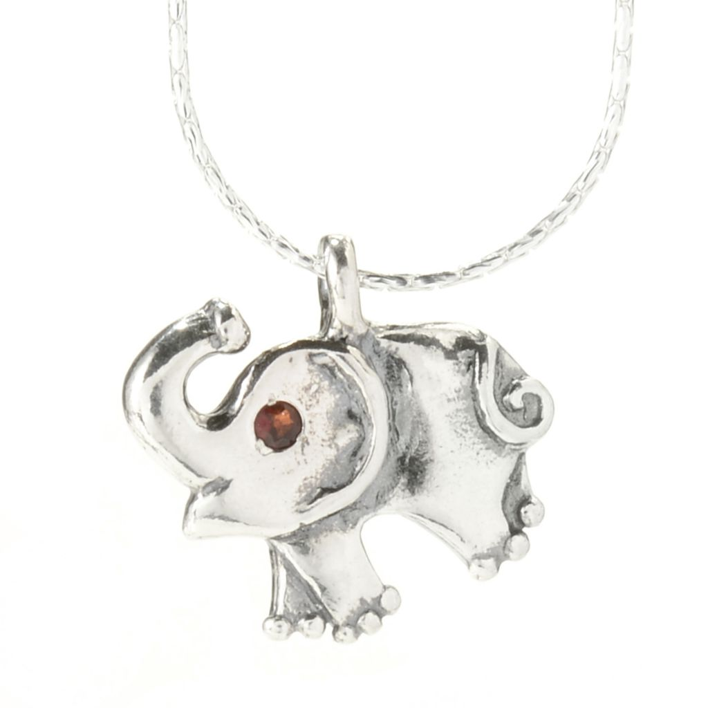 "141-824 - Passage to Israel Sterling Silver Garnet Elephant Pendant w/ 18"" Fancy Chain"
