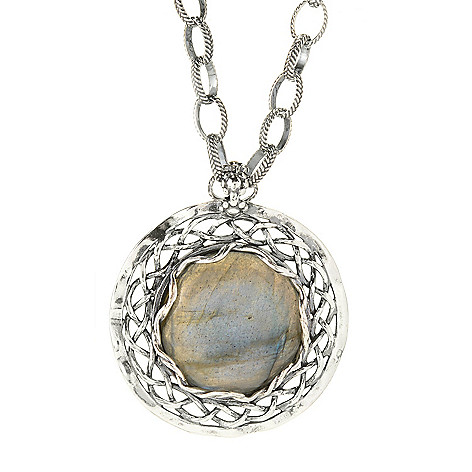 141-825 - Passage to Israel Sterling Silver 20mm Labradorite Medallion Pendant w/ 18'' Chain