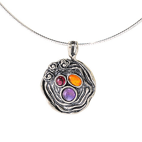 141-827 - Passage to Israel Sterling Silver Amber, Amethyst & Garnet Medallion w/ 18'' Omega Chain