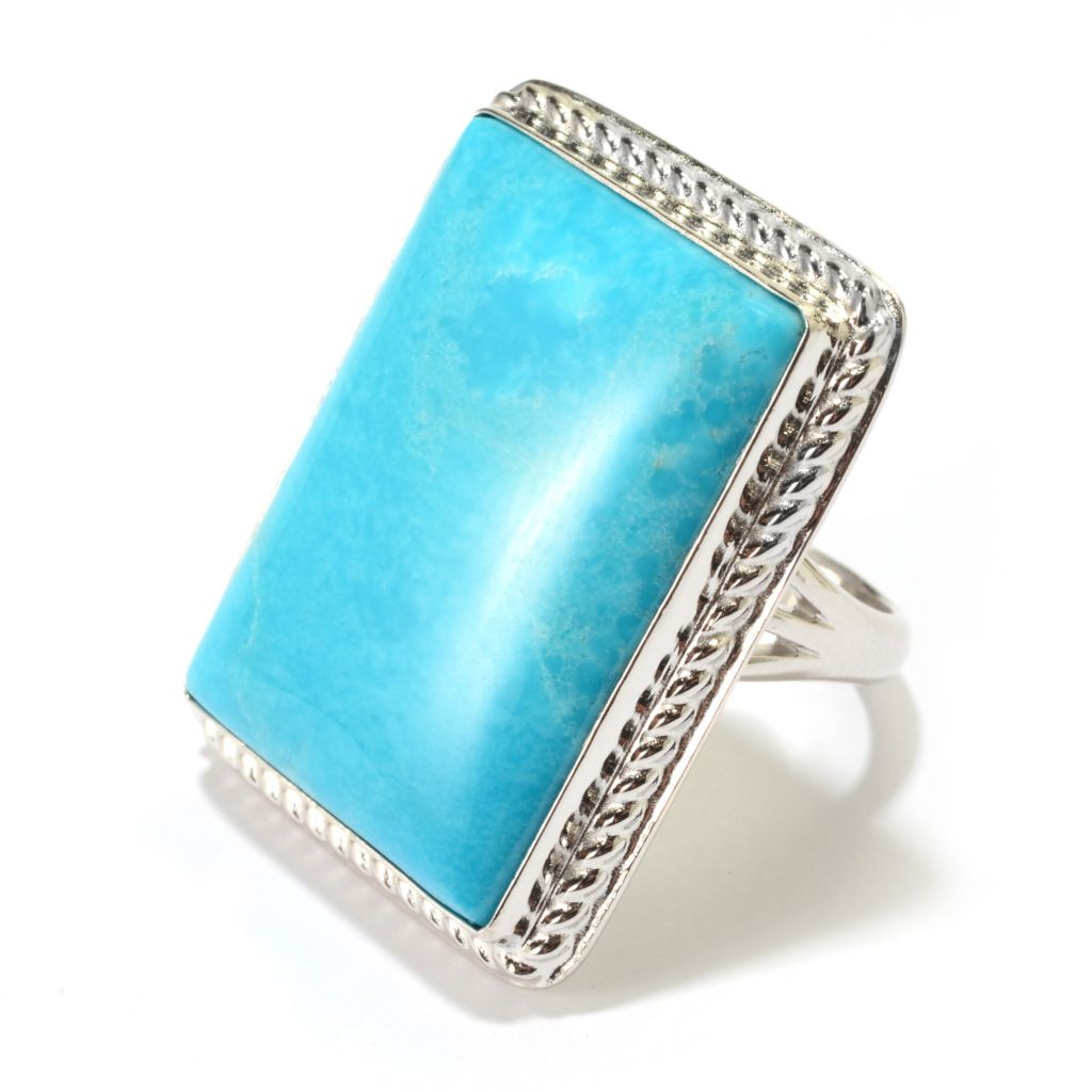 141-828 - Gem Insider Sterling Silver 26 x 19mm Turquoise Rectangle Ring