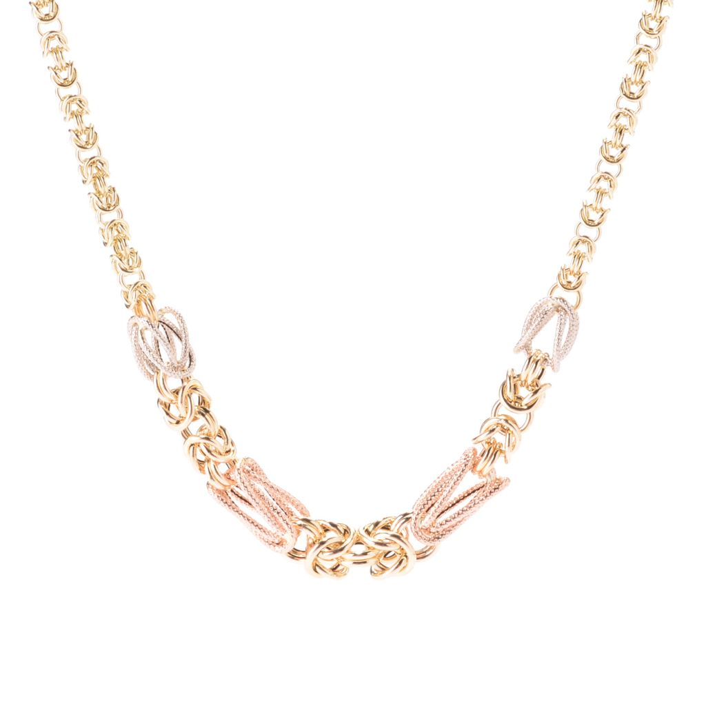 141-830 - Italian Designs with Stefano 14K Two-tone Gold Byzantine Necklace, 6.55 grams