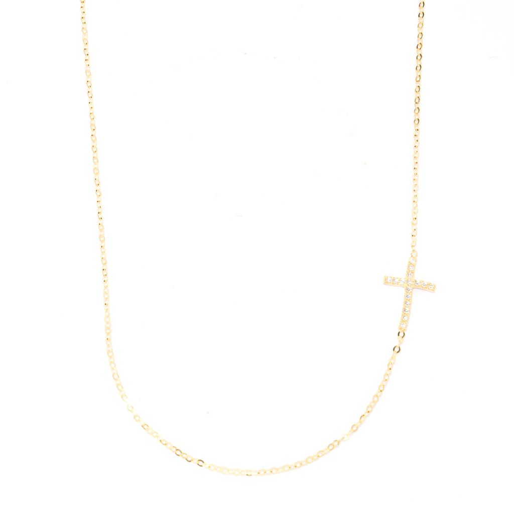 """141-846 - Italian Designs with Stefano 14K Gold 18"""" Simulated Diamond Cross Necklace"""