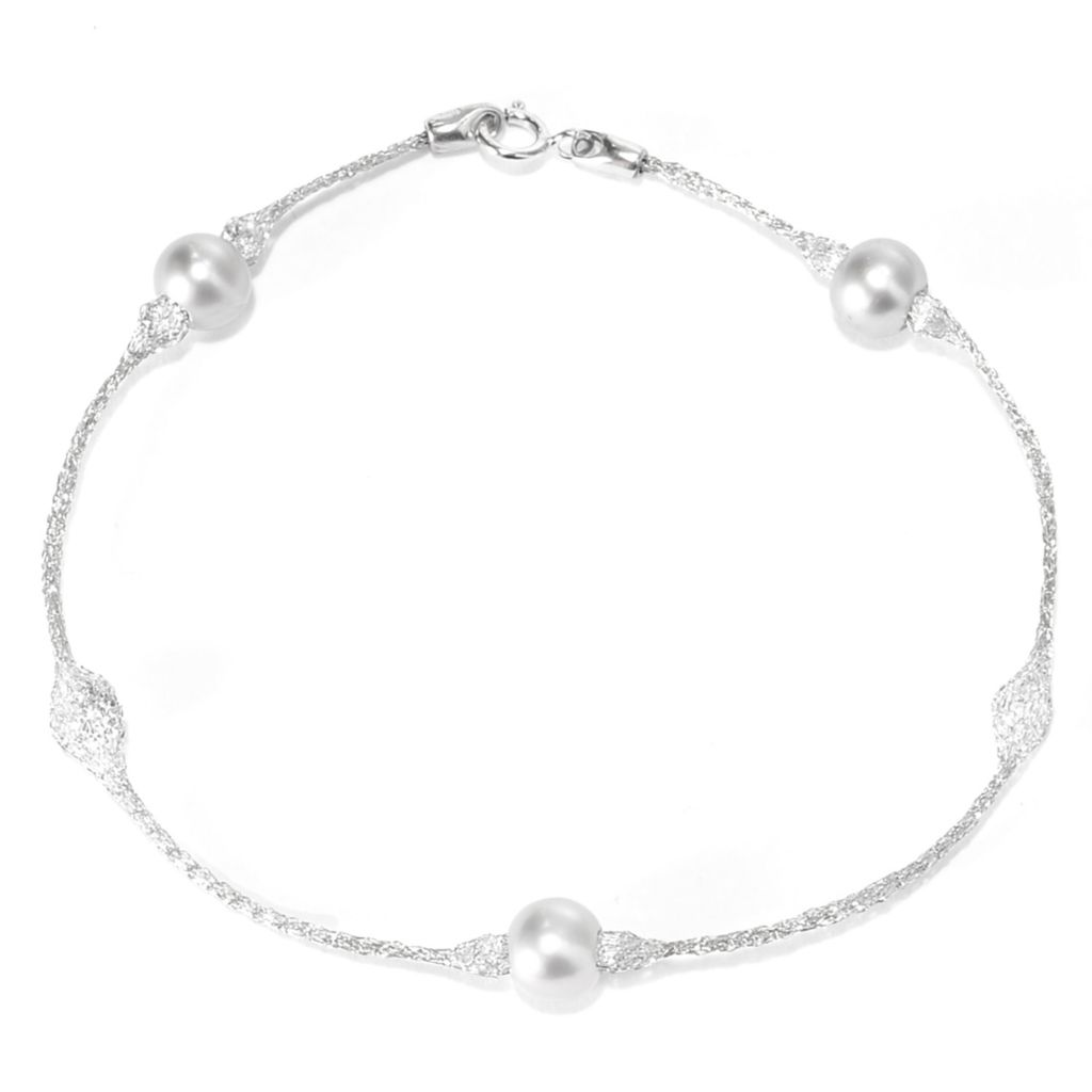 """141-848 - Italian Designs with Stefano 14K Gold 7.5"""" 6mm Freshwater Cultured Pearl Bracelet"""