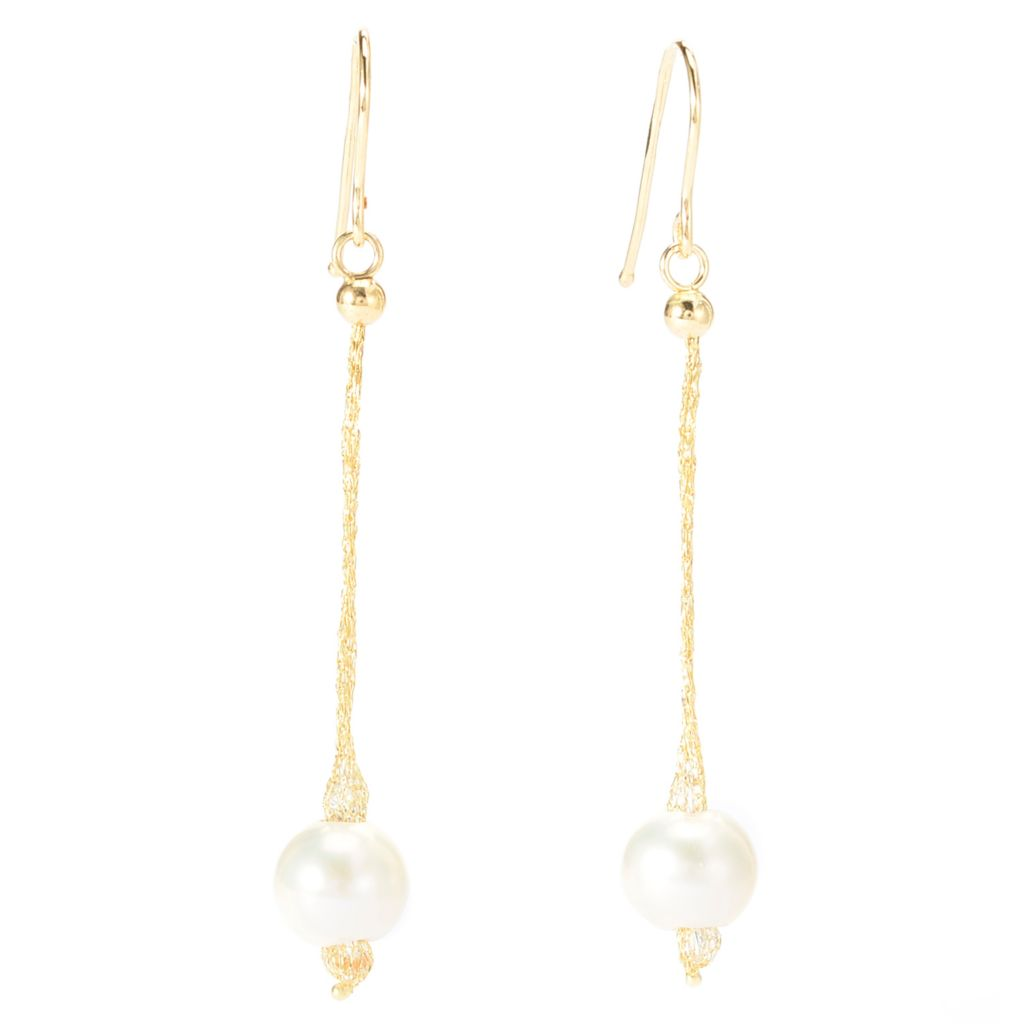 "141-849 - Italian Designs with Stefano 14K Gold 2.25"" 6mm Freshwater Cultured Pearl Earrings"