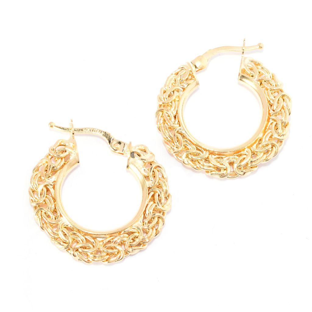 141-852 - Italian Designs with Stefano 14K Gold Byzantine Chain Hoop Earrings