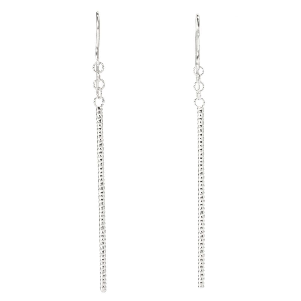 """141-855 - Italian Designs with Stefano 14K Gold 2.25"""" Textured Line Drop Earrings"""