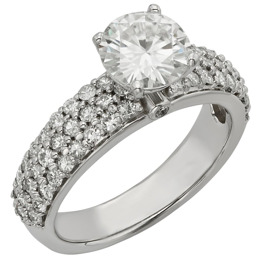 141-856 - Venazia™ Forever Brilliant® Moissanite 14K White Gold 2.37 DEW Round Ring