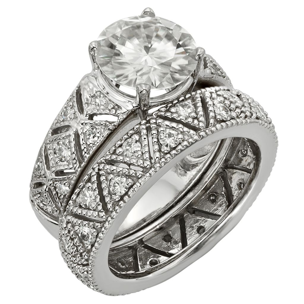 141-858 - Venazia™ Forever Brilliant® Moissanite 14K White Gold 2.35 DEW Ring Set