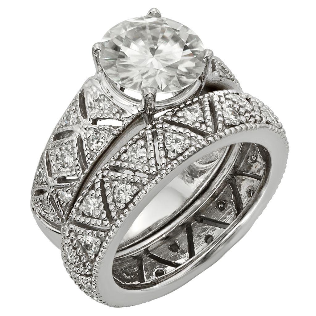 141-858 - Venazia™ Forever Brilliant® Moissanite 14K White Gold 2.35 DEW Ring Set