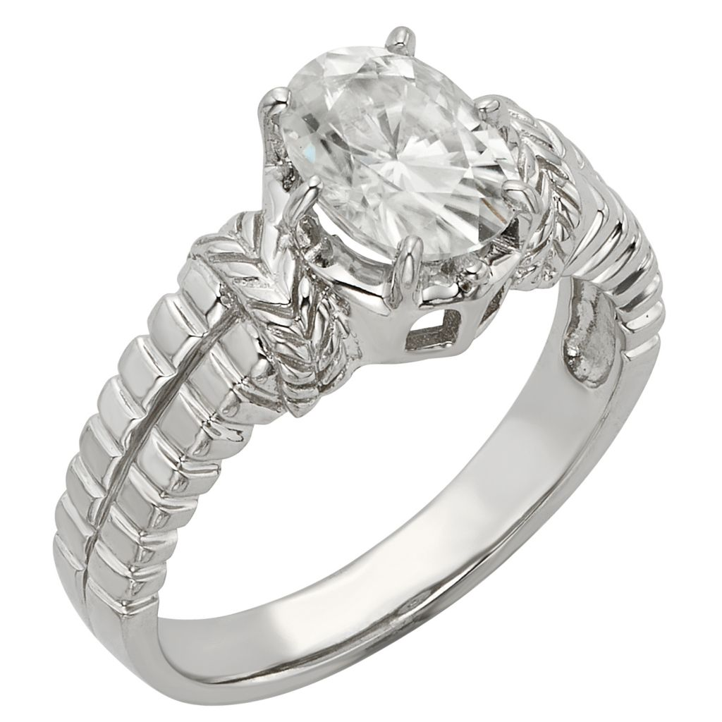 141-862 - Venazia™ Forever Brilliant® Moissanite 14K White Gold 1.50 DEW Oval Fashion Ring
