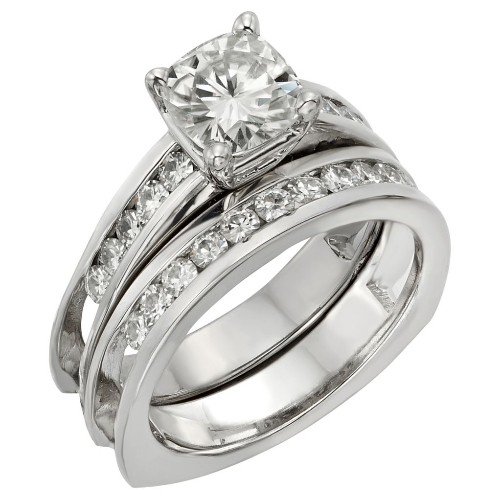 141-864 - Venazia™ Forever Brilliant® Moissanite 14K White Gold 1.72 DEW Ring Set