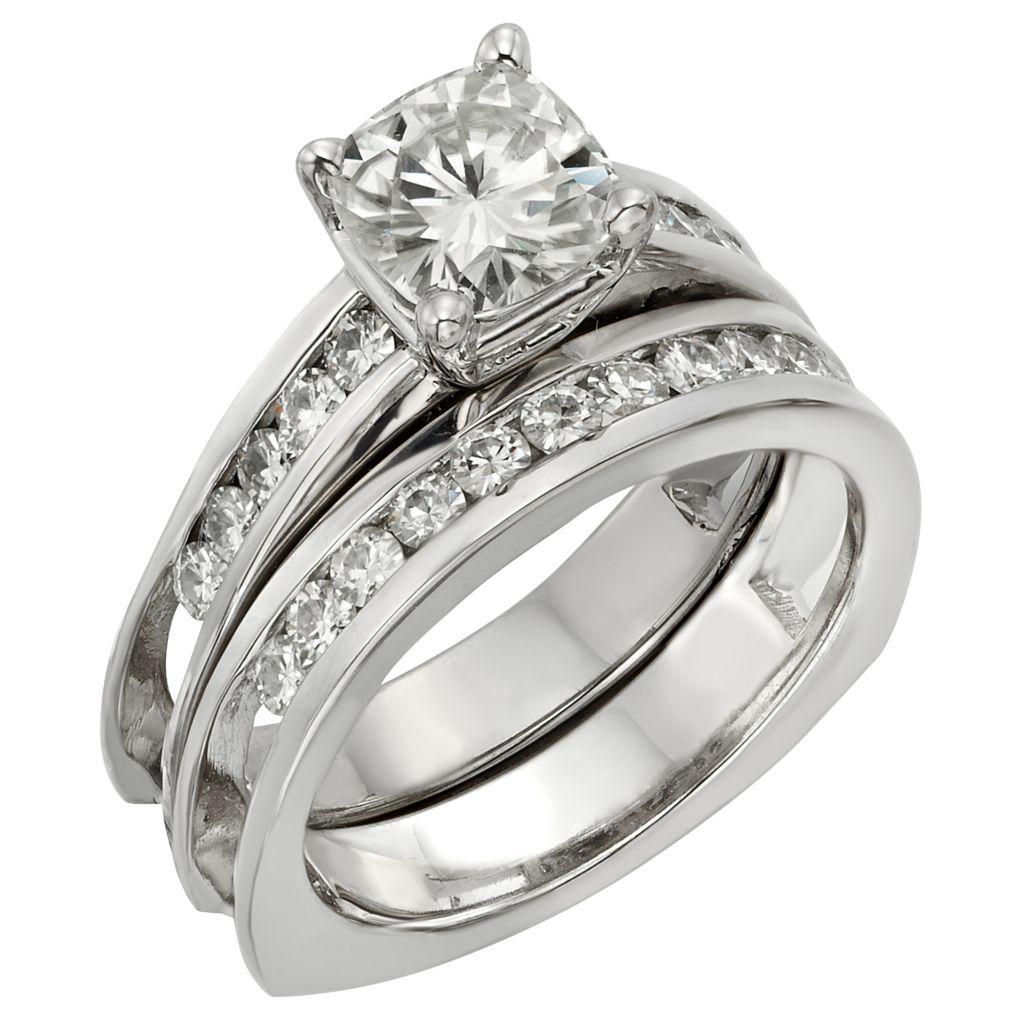141-864 - Venazia™ Forever Brilliant® Moissanite 14K White Gold 1.72 DEW Ring Set
