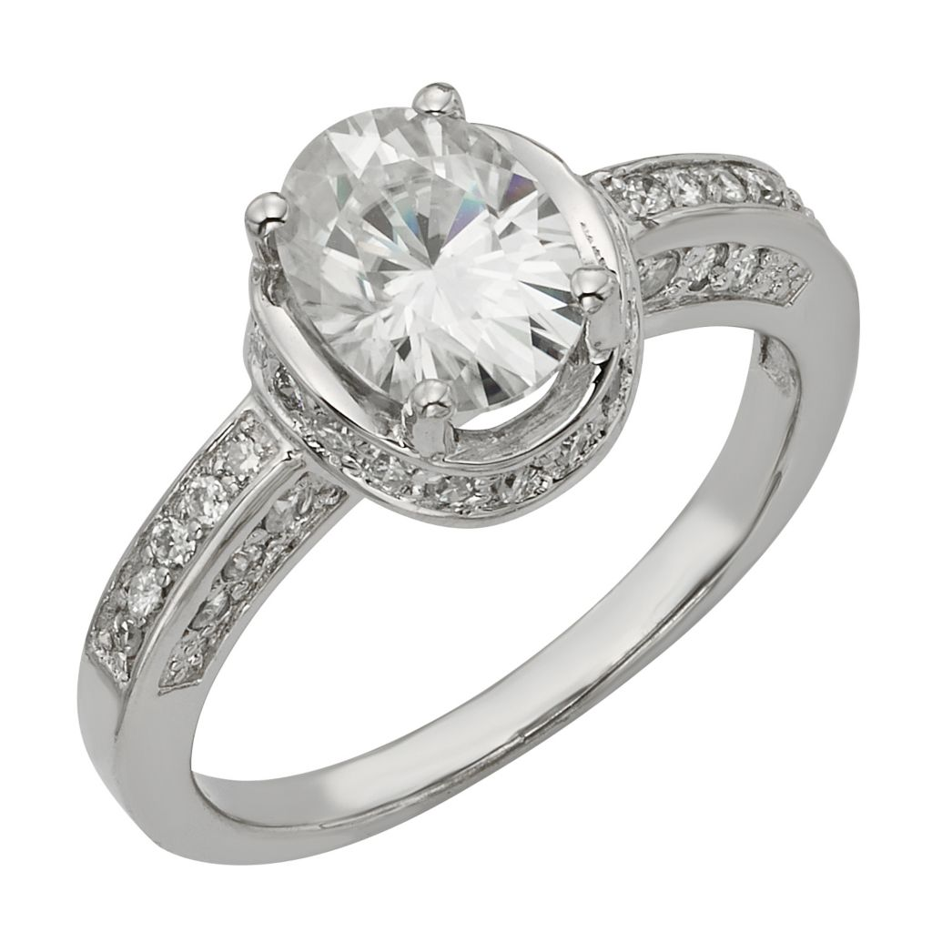 141-865 - Venazia™ Forever Brilliant® Moissanite 14K White Gold 2.26 DEW Oval Halo Ring