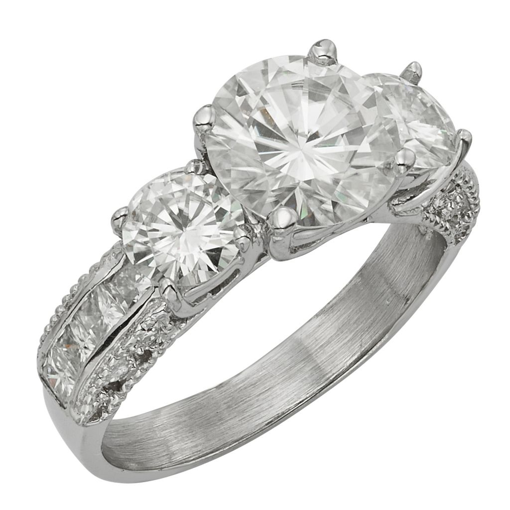141-871 - Venazia™ Forever Brilliant® Moissanite 14K White Gold 3.14 DEW Three-Stone Ring