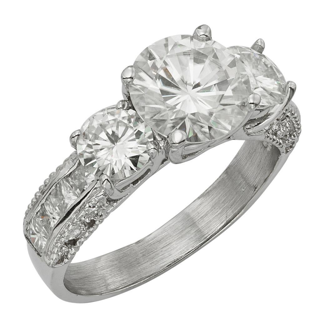 141-871 - Venazia™ Forever Brilliant® Moissanite 14K White Gold 3.14 DEW Three-Stone Ring