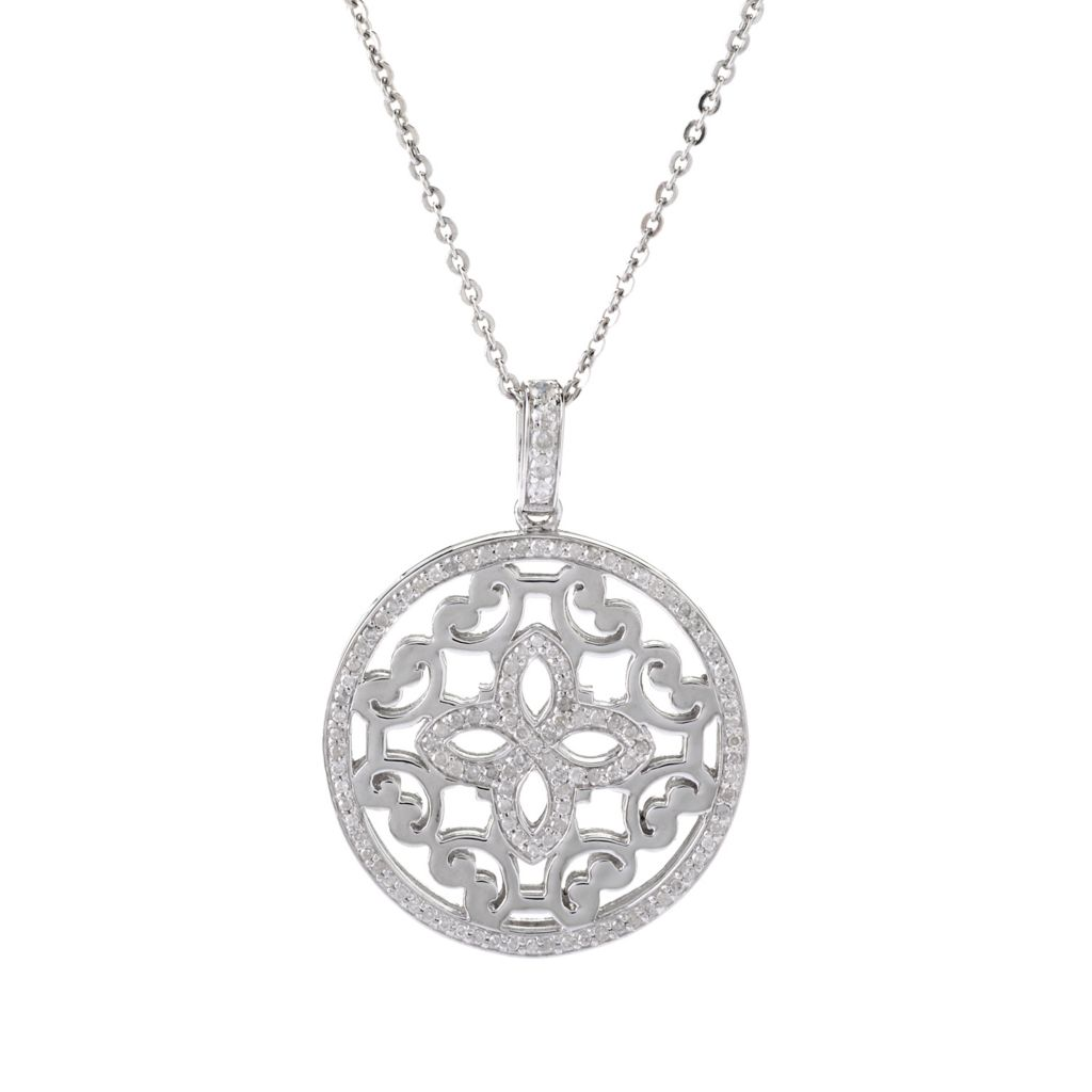 141-875 - Beverly Hills Elegance Sterling Silver 0.70ctw Diamond Filigree Circle Pendant w/ Chain