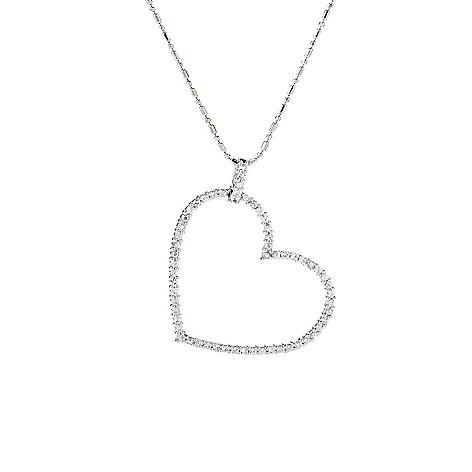 141-876 - Beverly Hills Elegance® Sterling Silver 1.35ctw White Sapphire Heart Pendant