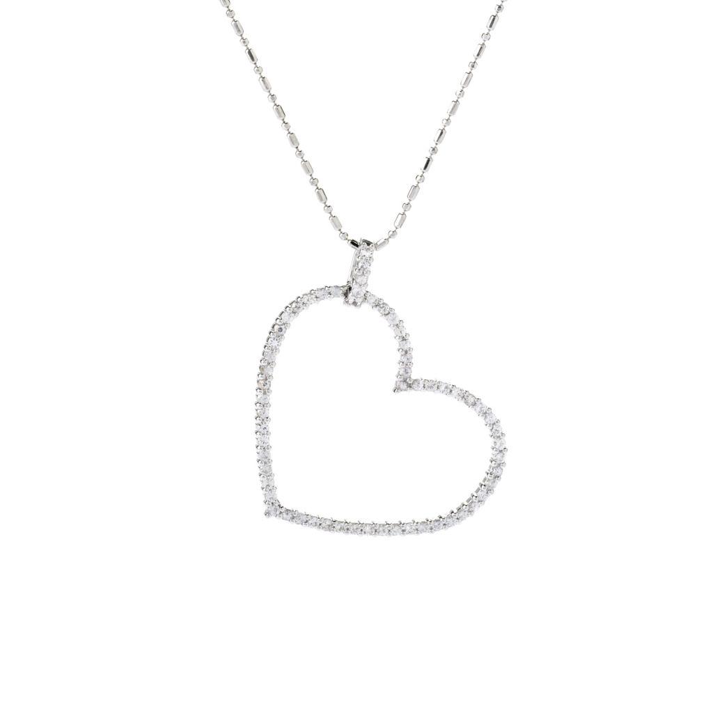 141-876 - Beverly Hills Elegance Sterling Silver 1.35ctw White Sapphire Heart Pendant