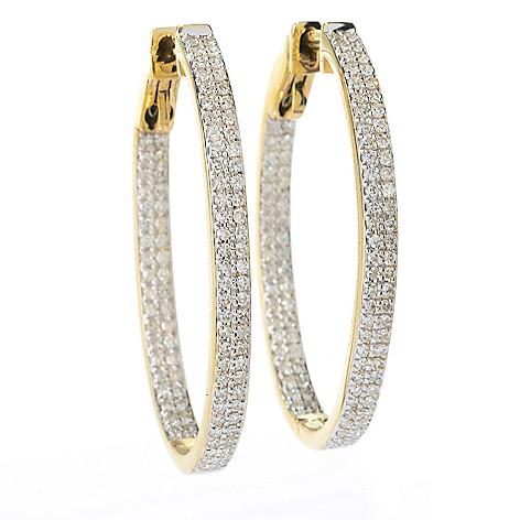 141-878 - Beverly Hills Elegance® 14K Gold 1.25'' 0.80ctw Diamond Inside-Out Oval Hoop Earrings