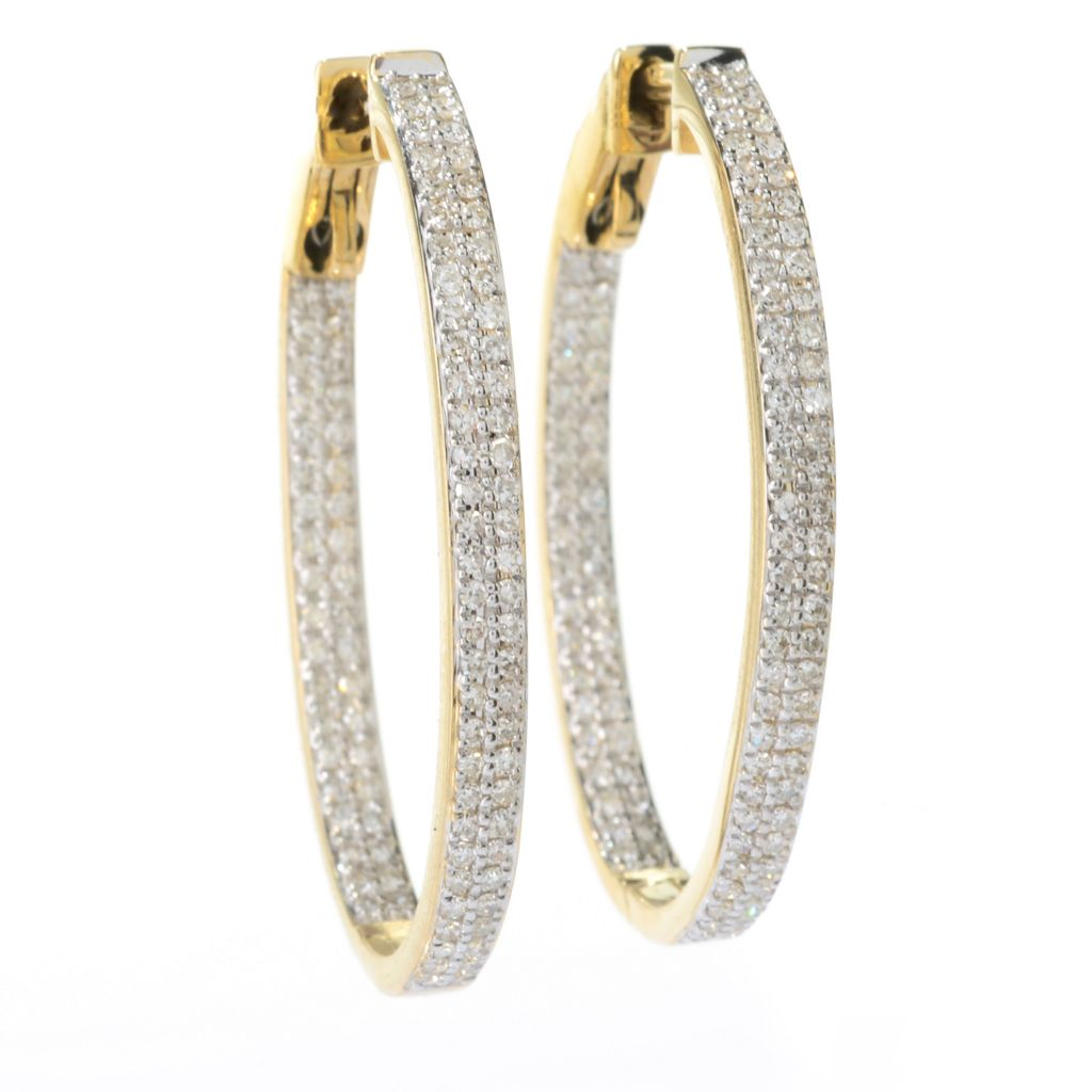 "141-878 - Beverly Hills Elegance 14K Gold 1.25"" 0.80ctw Diamond Inside-Out Oval Hoop Earrings"