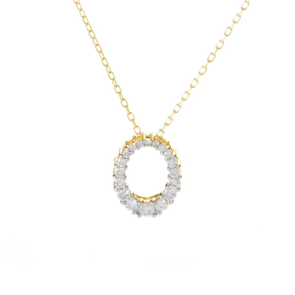 141-879 - Beverly Hills Elegance 14K Gold 0.50ctw Diamond Graduated Oval Pendant w/ Chain