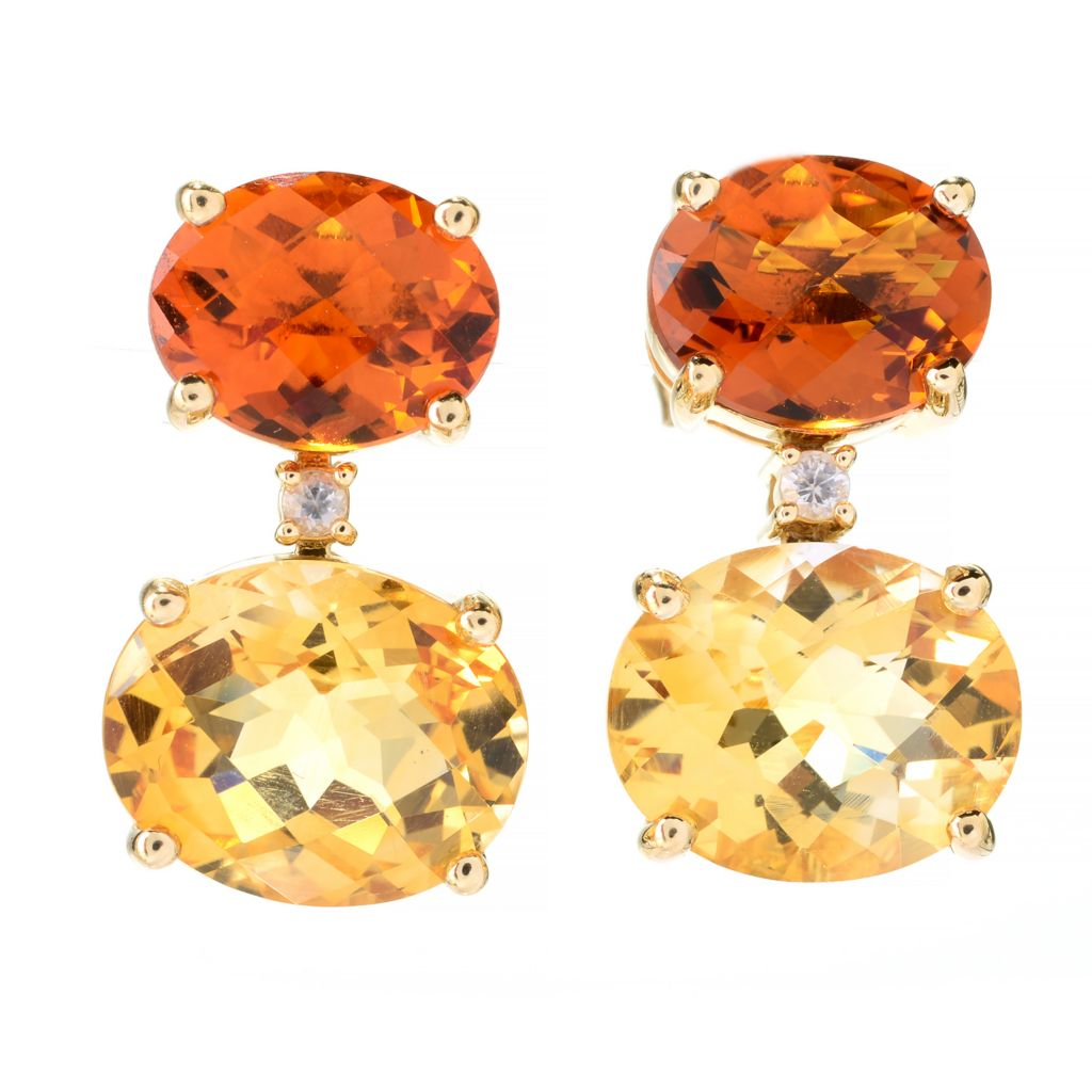 141-880 - Beverly Hills Elegance 14K Gold 11.88ctw Quartz, Citrine & White Sapphire Drop Earrings