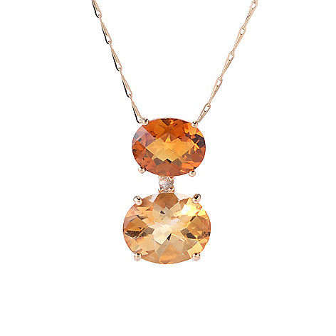 141-881 - Beverly Hills Elegance® 14K Gold 6.04ctw Quartz, Citrine & White Sapphire Pendant w/ Chain