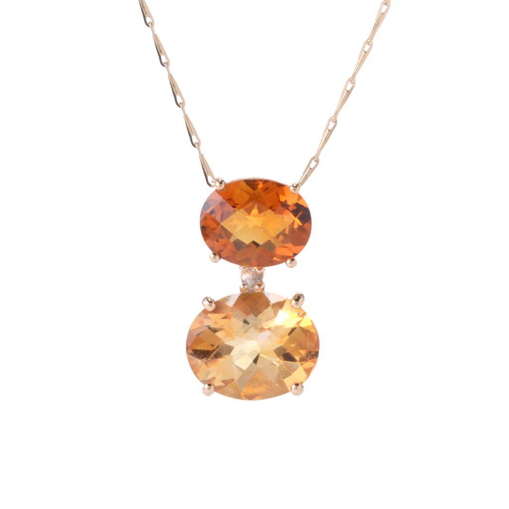141-881 - Beverly Hills Elegance 14K Gold 6.04ctw Quartz, Citrine & White Sapphire Pendant w/ Chain