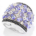 141-882 - Gem Treasures Sterling Silver Exotic Gemstone, White Topaz & Black Spinel Ring