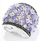 141-882 - Gem Treasures Sterling Silver Exotic Gemstone, White Topaz & Black Spinel Ring